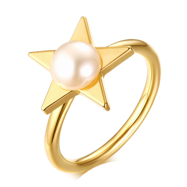 Dainty Gold Star Stacking Ring with Pearl - ISAACSONG.DESIGN