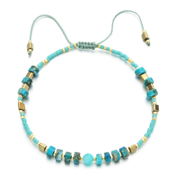 """Power of Gemstone"" Turquoise Japanese Seed Bead String Bracelet Epic 