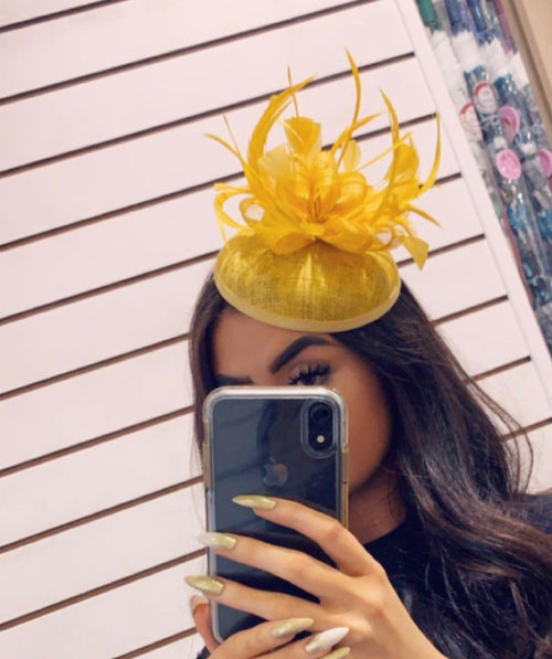 Yellow Fascinator on band