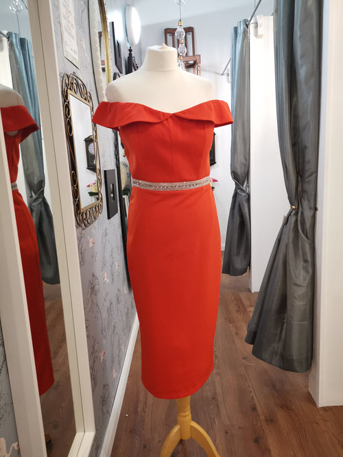 Fiona Orange bardot dress with embellished waistline