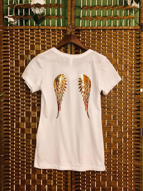 White V-neck Tee with Gold Angel Wings
