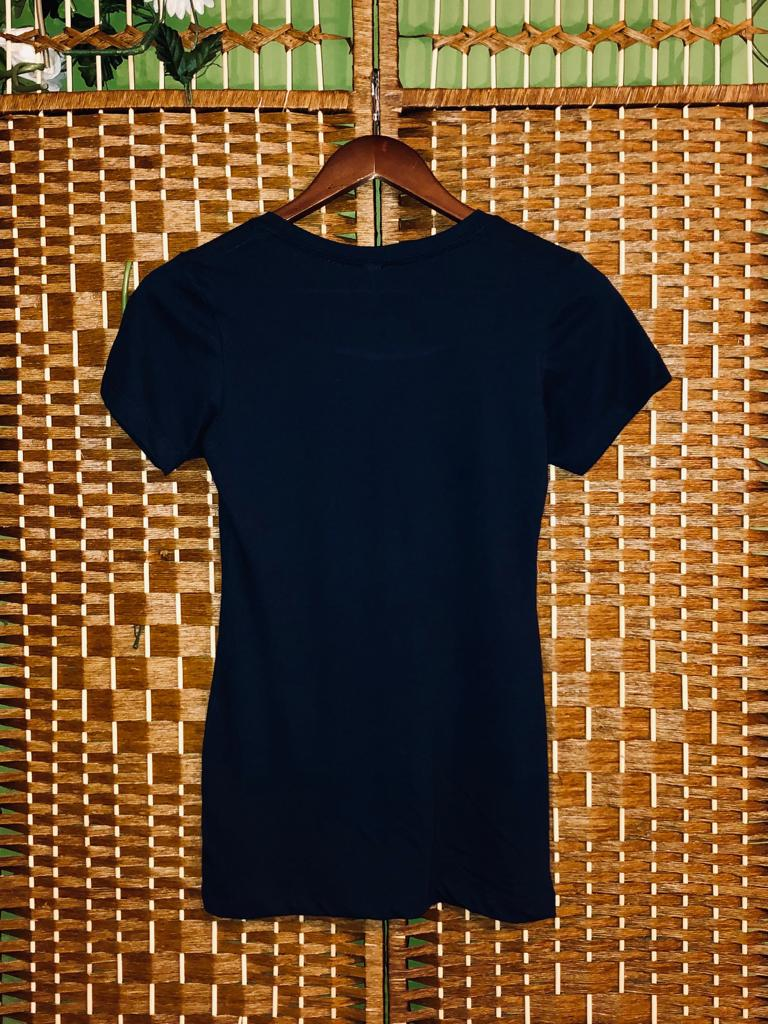 White Lips Navy Round Neck Tee