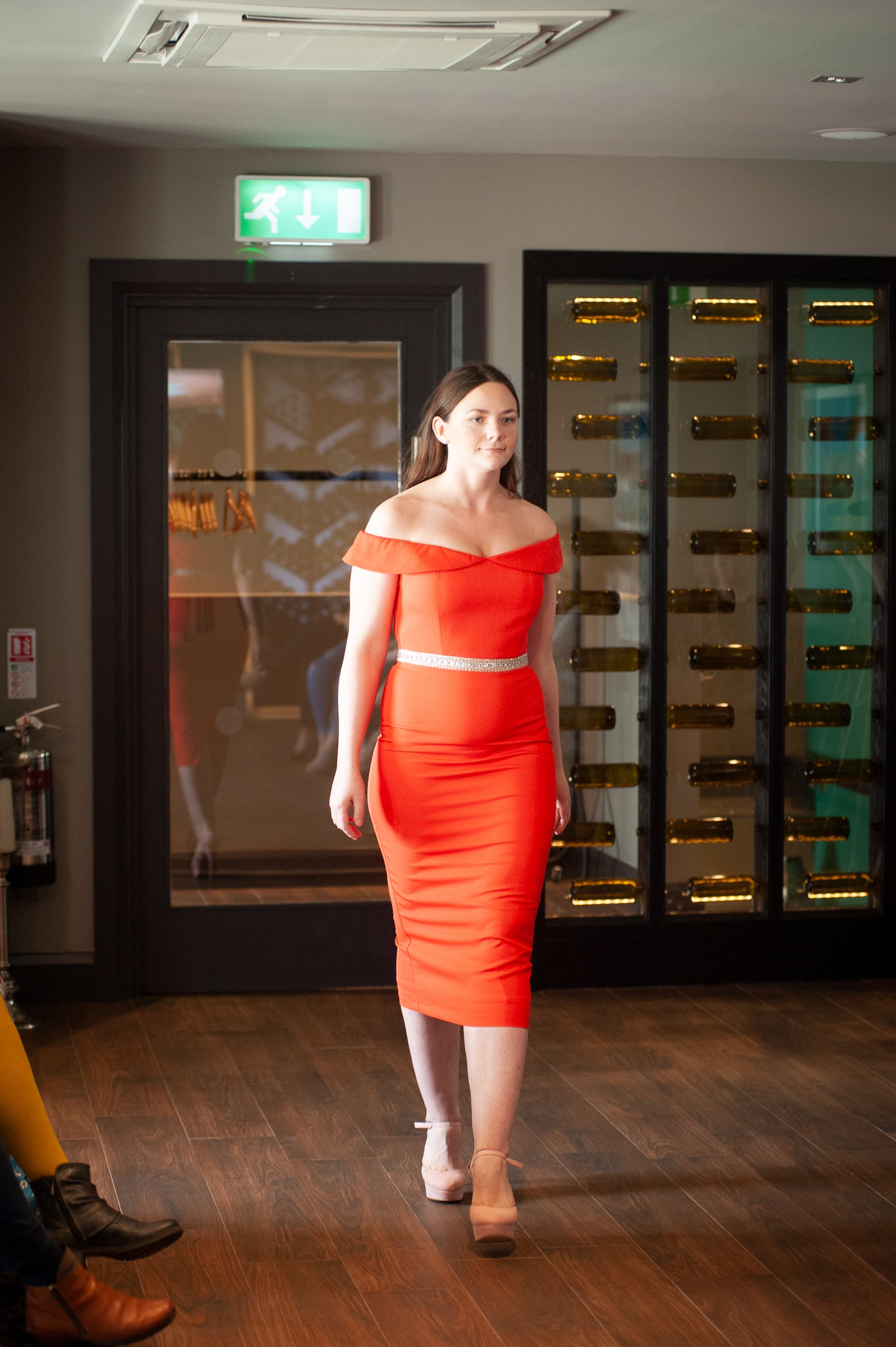 Fiona Orange bardot dress with embellished waistline-So Amazing-Lisa's Attic