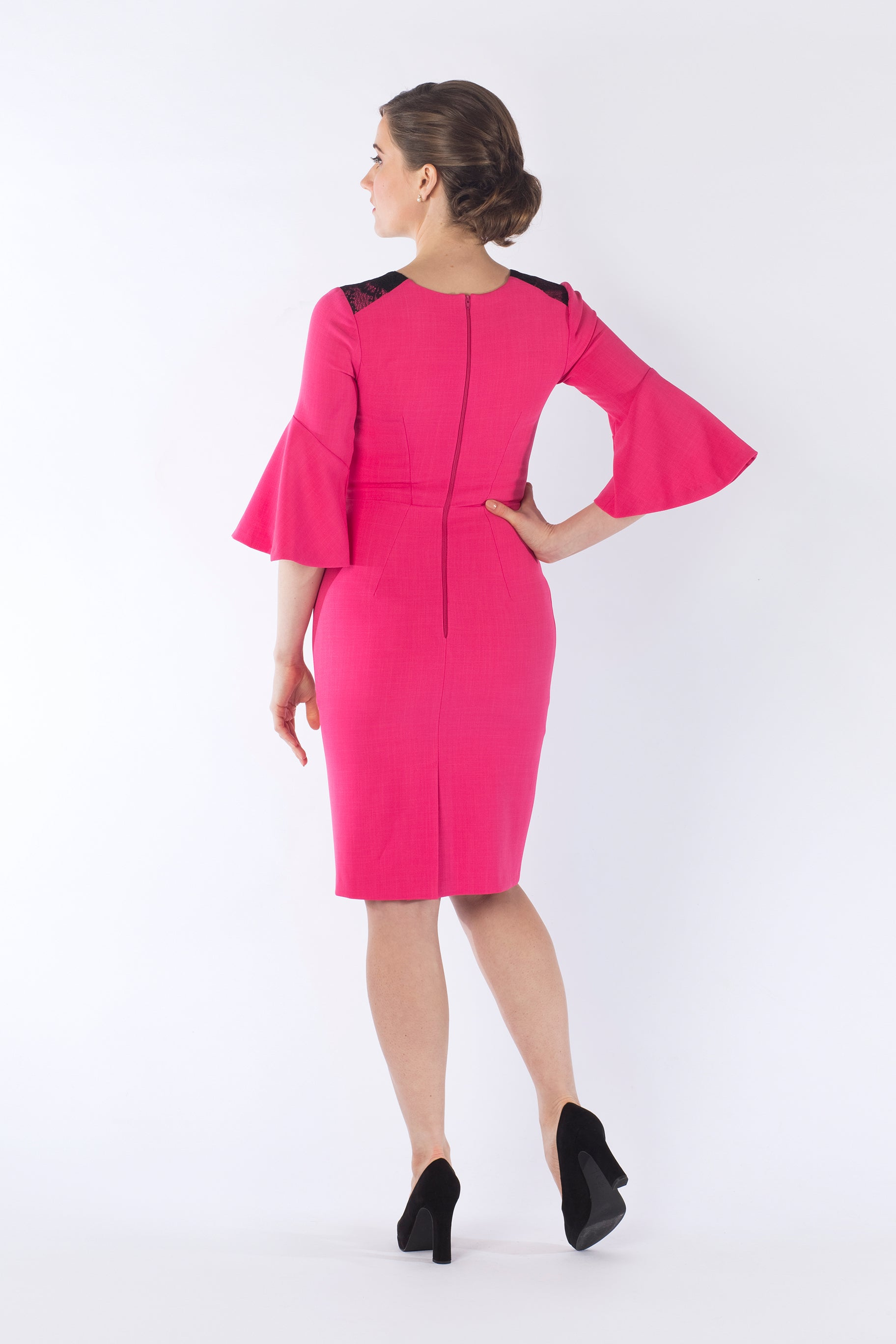Jenny Pink & Black Peplum Sleeve Dress-jeva-Lisa's Attic