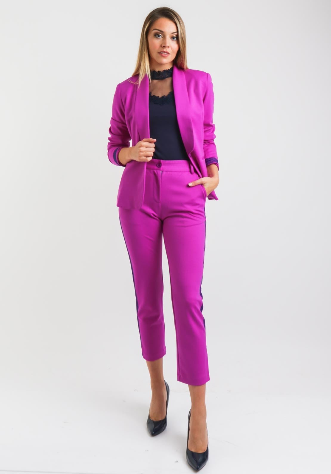 Purple With Lace Trim Trousers