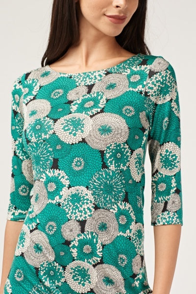 Green floral printed mini shift dress