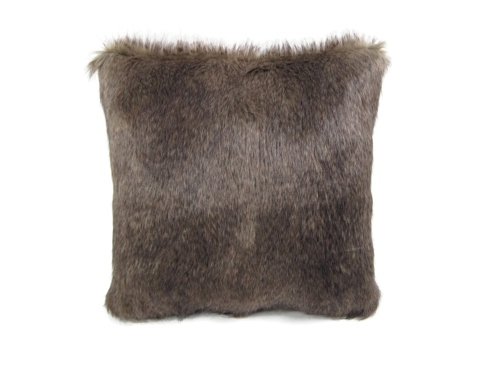 "Faux Fur 18"" Square Decorative Pillow – Brown Fox"