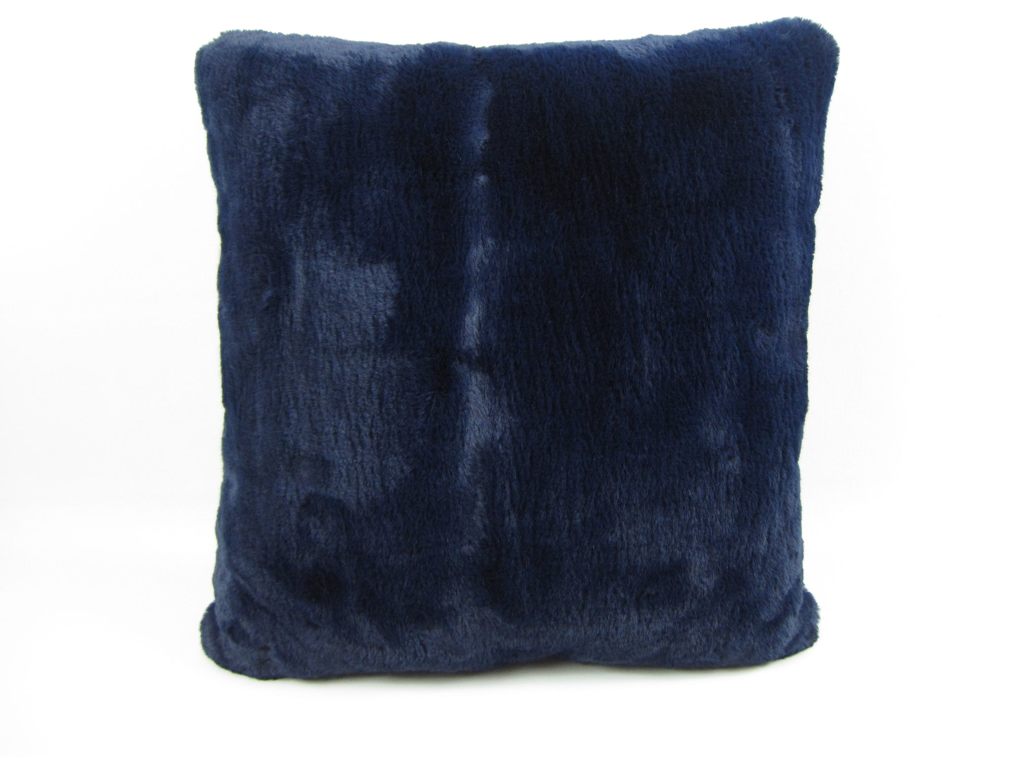 "Faux Fur 18"" Square Decorative Pillow – Navy Cheshire"