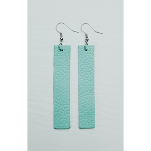 Genuine Leather Bar Earrings - Mint Green