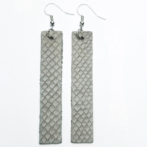 Genuine Leather Bar Earrings - Embossed Grey