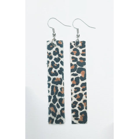Genuine Leather Bar Earrings - Leopard Print