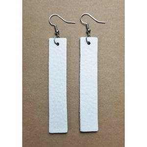 Genuine Leather Bar Earrings - White