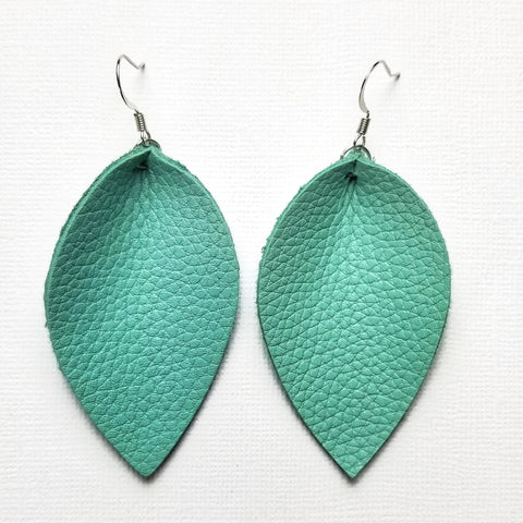 Genuine Leather Pinched Leaf Earrings - Large - Mint Green