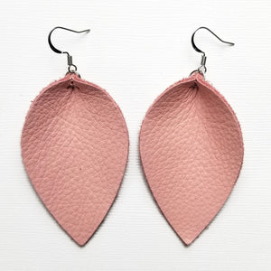 Genuine Leather Pinched Leaf Earrings - Large - Soft Pink