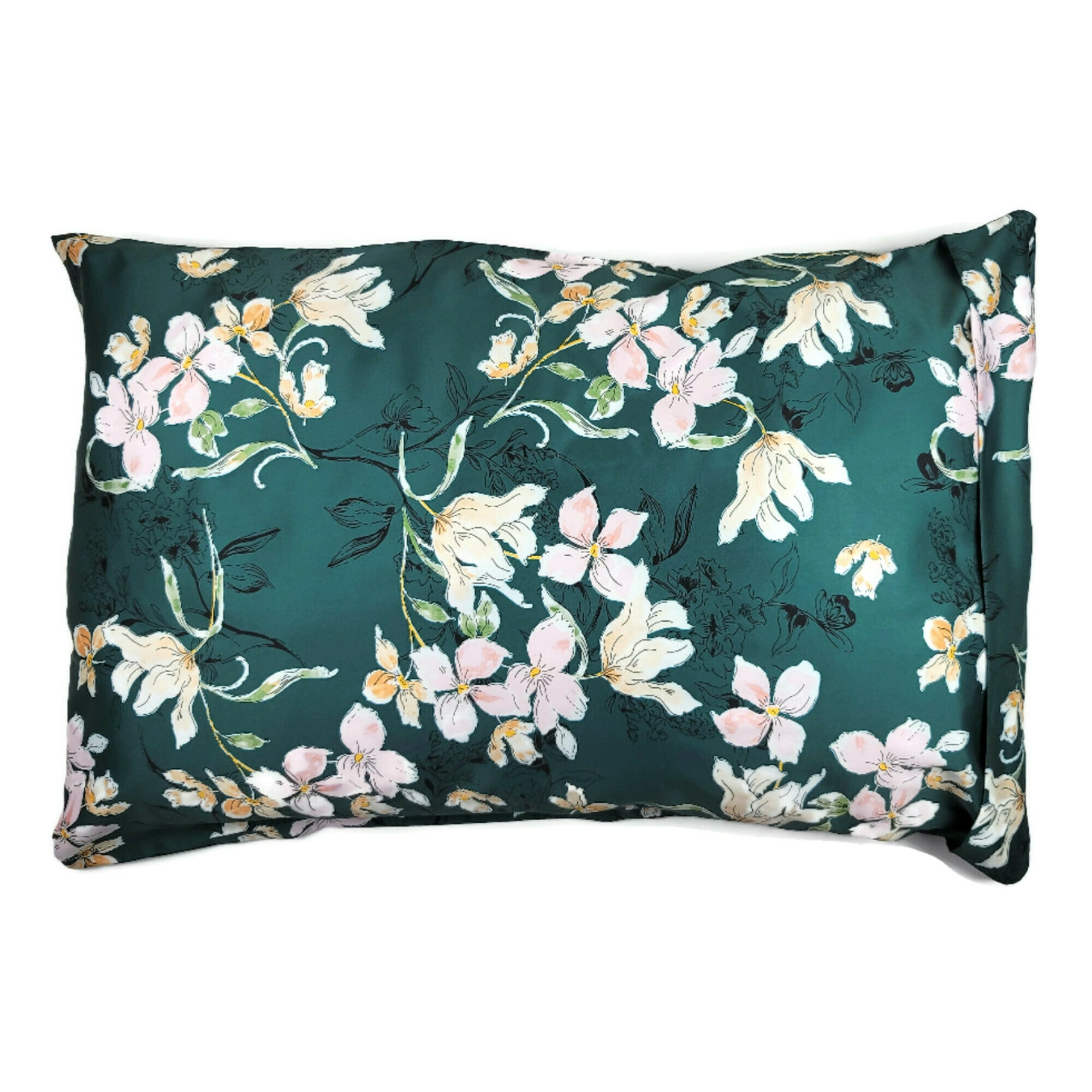 Luxe Satin Zippered Pillowcase - Teal Floral