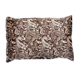 Luxe Satin Zippered Pillowcase - Paisley Chocolate/Pink