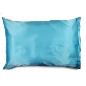 Luxe Satin Zippered Pillowcase - Light Turquoise