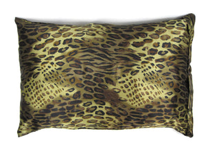Luxe Satin Zippered Pillowcase - Cheetah Bronze/Taupe/Black