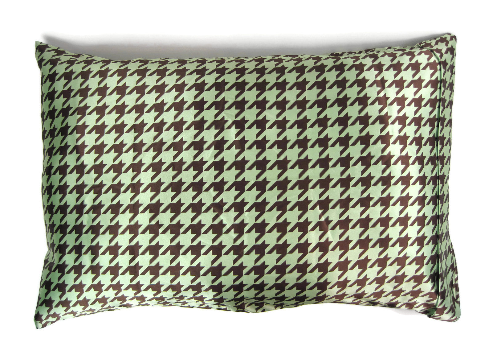 Luxe Satin Zippered Pillowcase - Houndstooth Chocolate/Mint