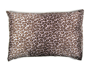 Luxe Satin Zippered Pillowcase - Leopard Pink/Brown