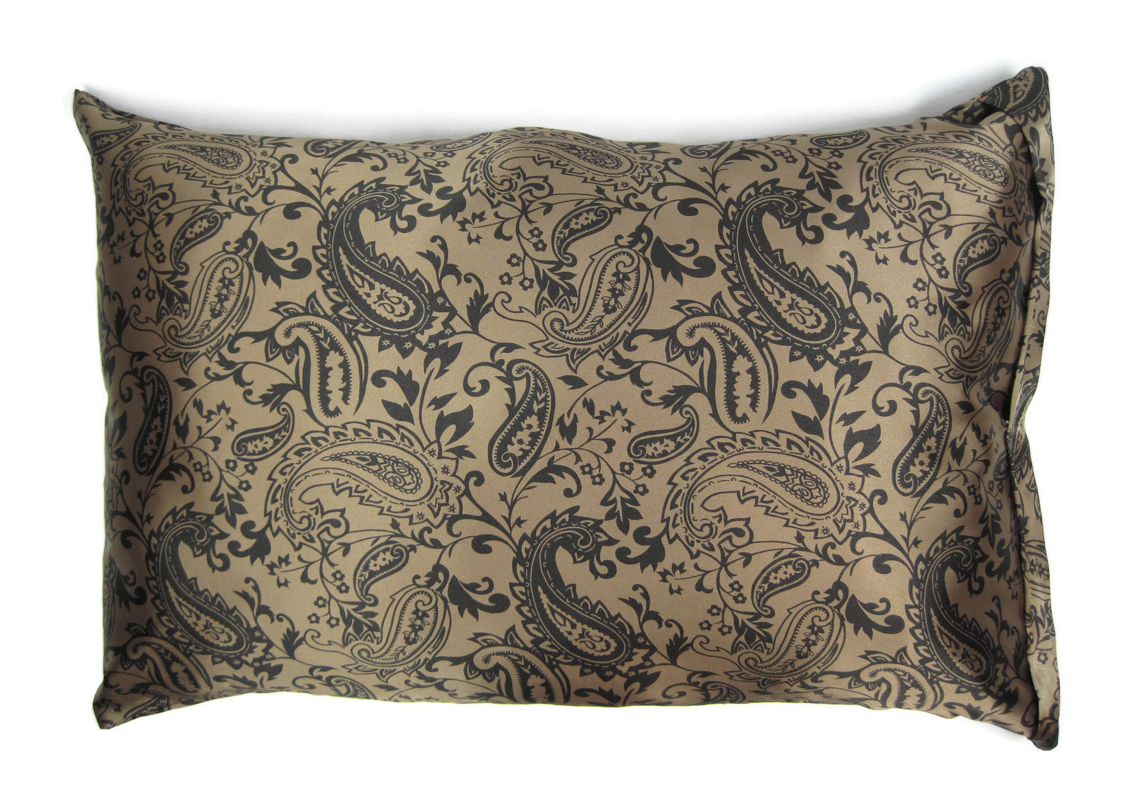 Luxe Satin Zippered Pillowcase - Paisley Cappucino/Black