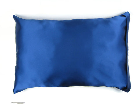Luxe Satin Zippered Pillowcase - Blue Royalty