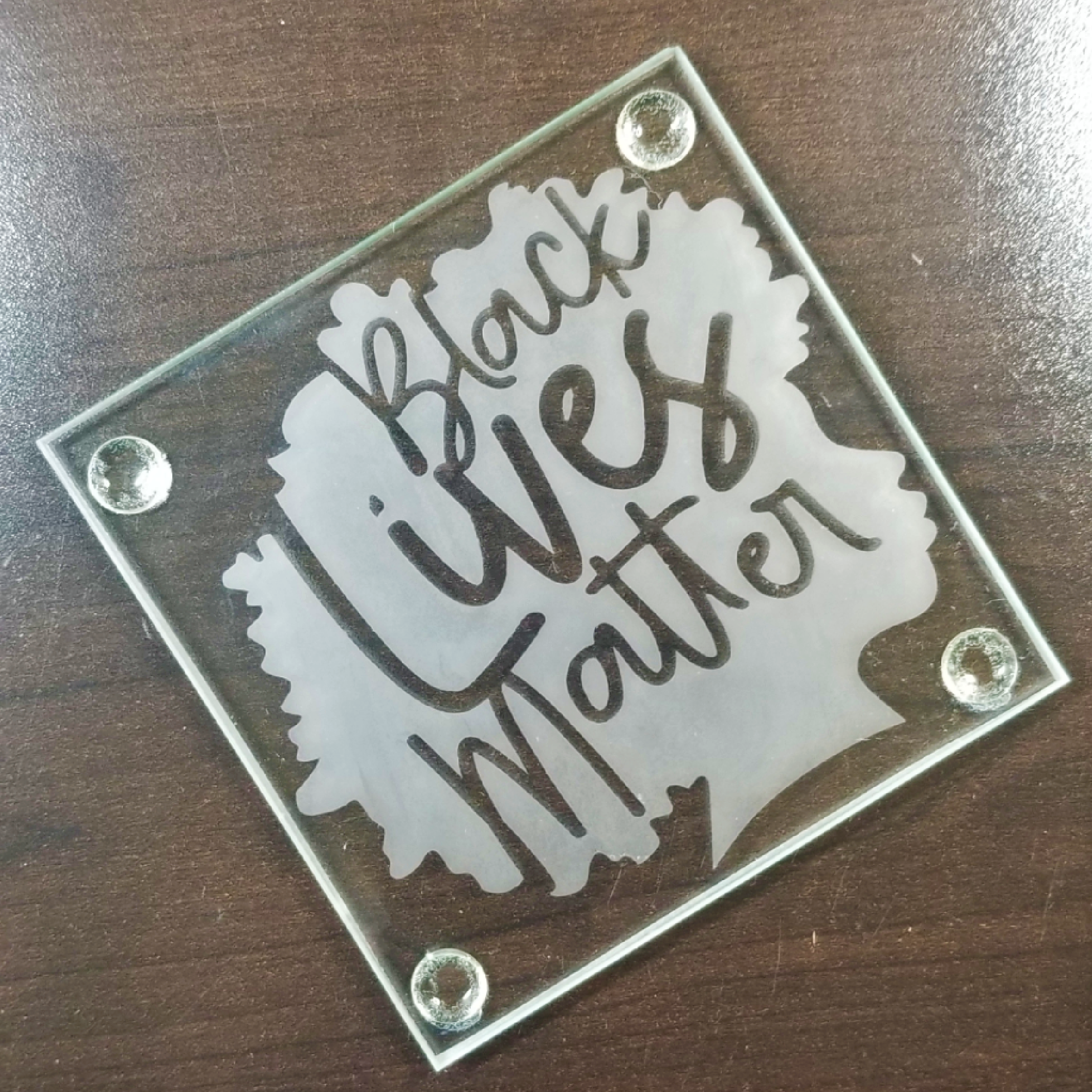 Square Etched Glass Coaster - Black Lives Matter