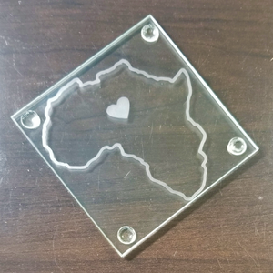 Square Etched Glass Coaster - The Heart of Africa