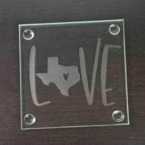 Square Etched Glass Coaster - Texas Sized Love