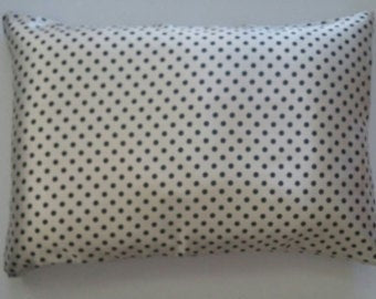 Luxe Satin Zippered Pillowcase - Polka Dot Cream/Black