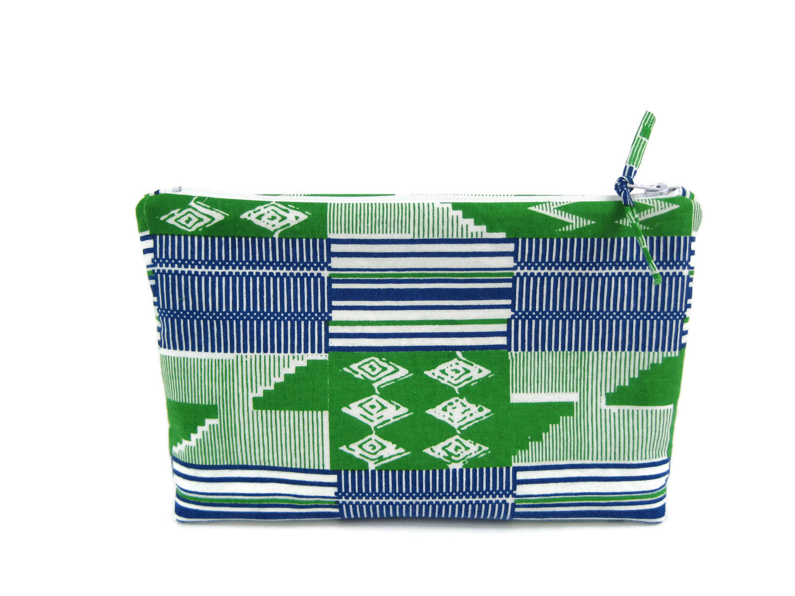 Zippered Makeup Bag - Large  - Blue/Green Kente