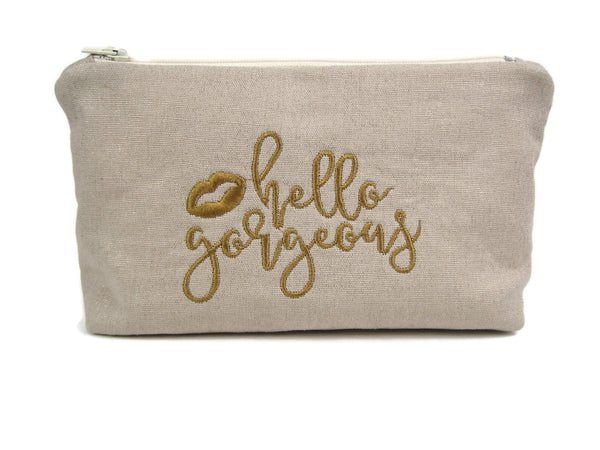 "Zippered Makeup Bag - Medium  - ""Hello Gorgeous"" Natural/Gold"