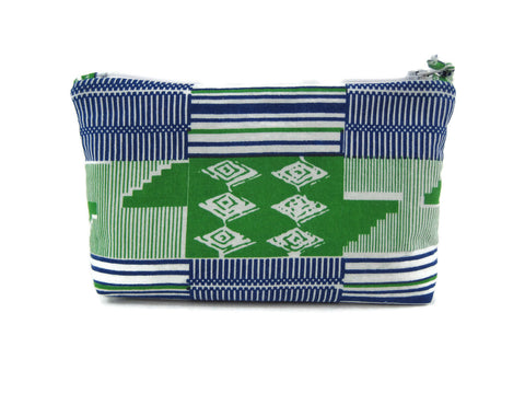 Zippered Makeup Bag - Medium  - Blue/Green Kente
