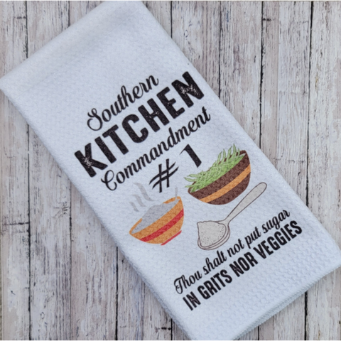 Waffle Kitchen Towel - Southern Kitchen Commandment #1
