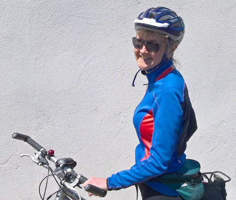 Wearing flip up sunglasses for cycling