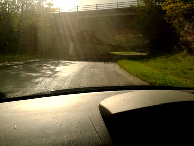 Driving into oncoming sun causes a safety hazard
