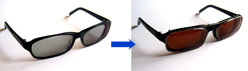 Polarized clip on sunglasses over photochromatic lenses