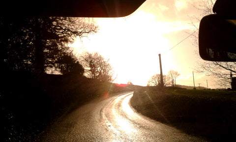 low angle sun causing temporary road blindness
