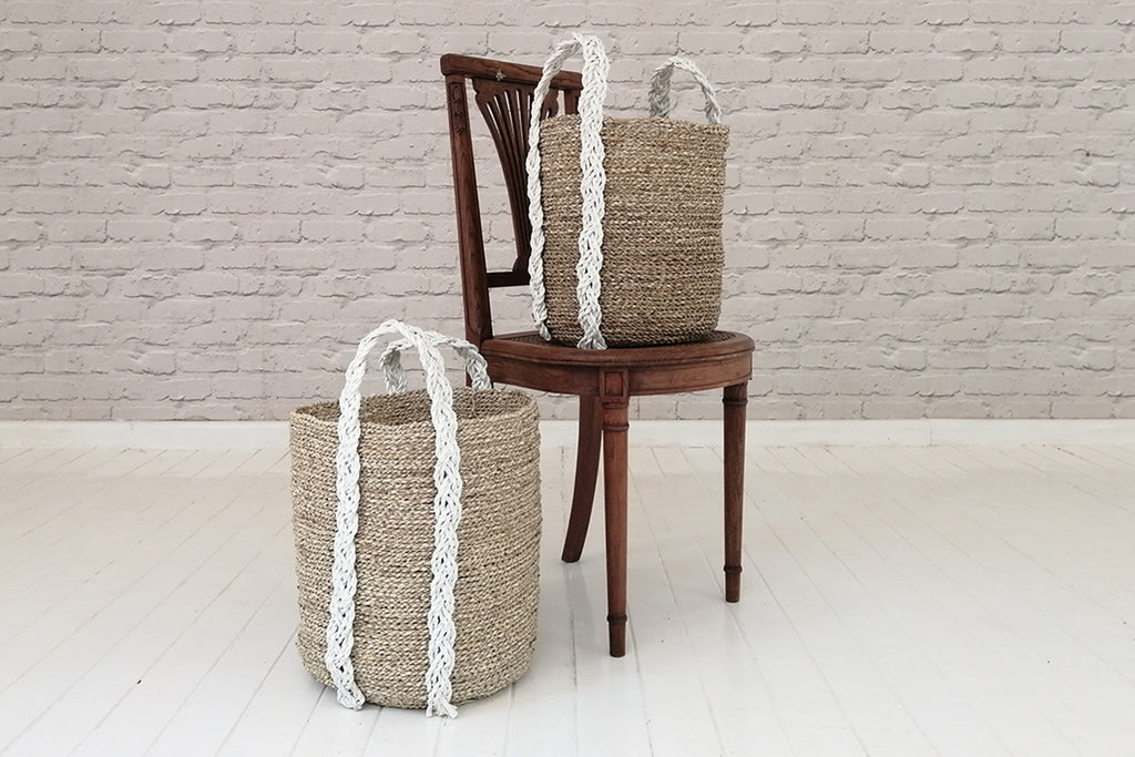 Sea grass basket with recycle plastic handles - Natural