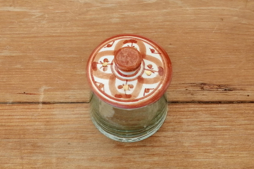 Mini hand blown glass condiments jar with hand painted ceramic lid
