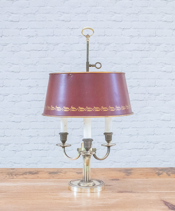 A Vintage American lamp with metal shade