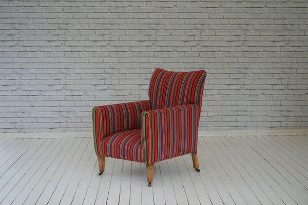 An Edwardian armchair in Turkish striped cotton