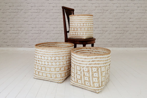Swahili pattern bamboo and recycled plastic basket