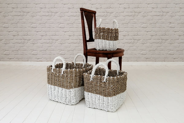 Sea grass baskets with recycled plastic bottom and handles