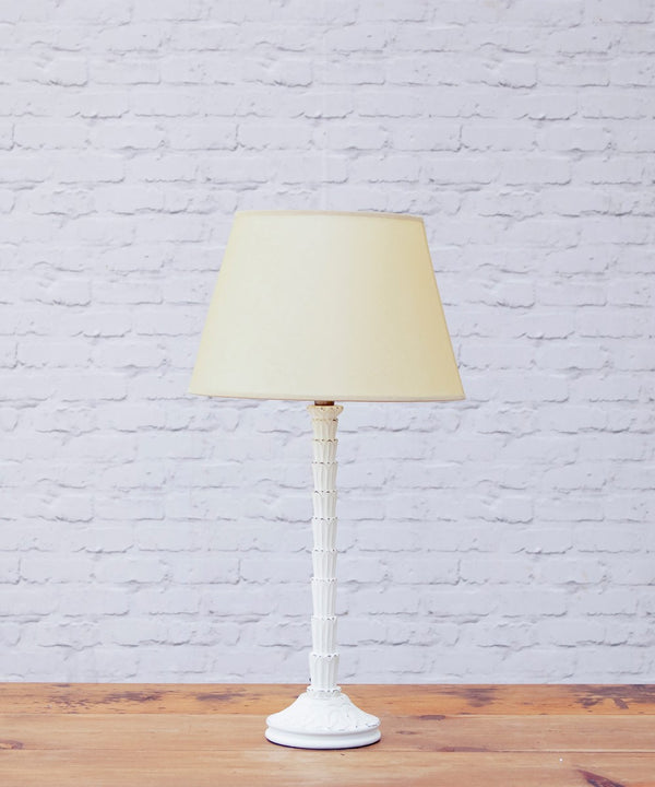 Lisa hand carved & distressed table lamp with vellum shade