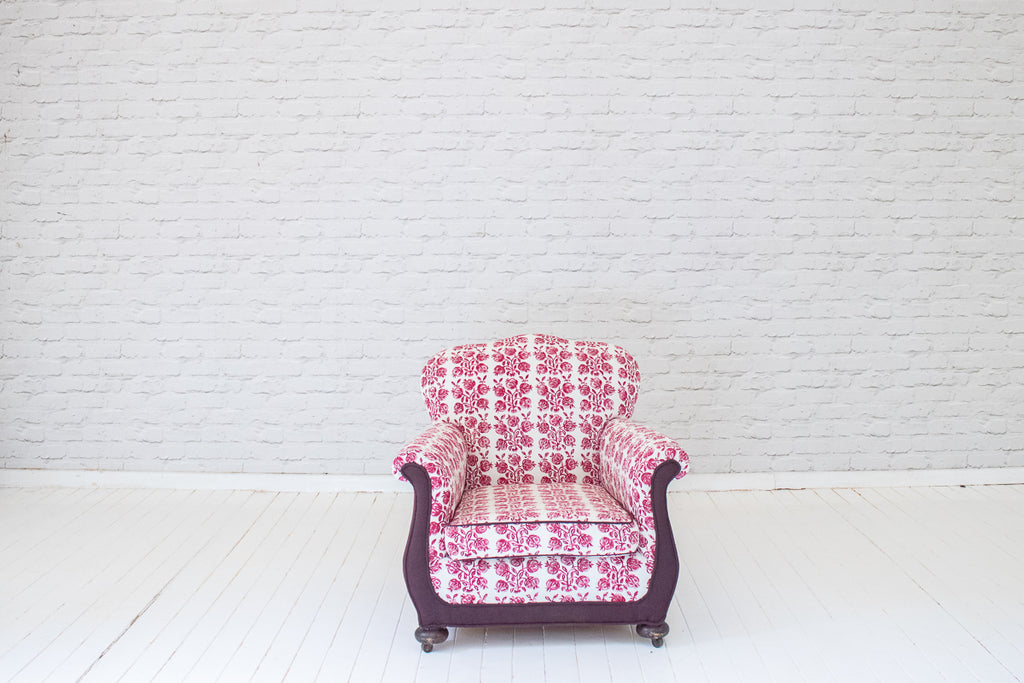 A Victorian armchair in Egyptian hand-printed cotton by Alef Gallery, Cairo
