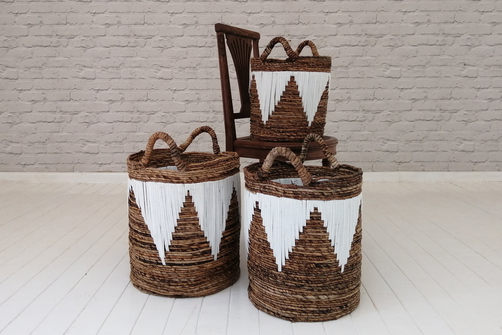 Banana fibre laundry basket with recycled plastic pattern work