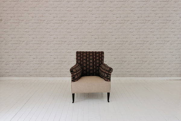 An Edwardian armchair in vintage handwoven heavy ceremonial sarong & biscuit cotton