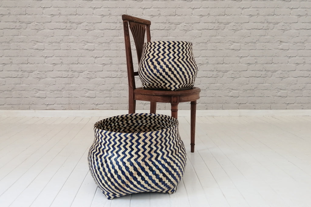 Zigzag pattern bamboo and recycled plastic baskets -Black