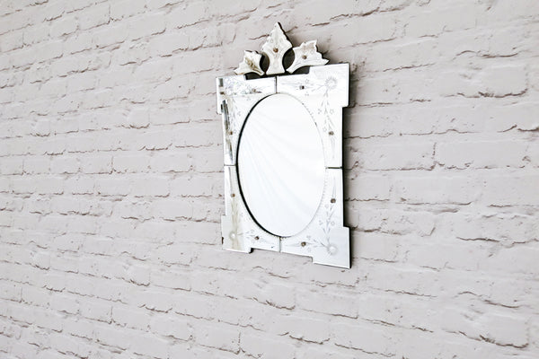 A vintage French cut glass mirror